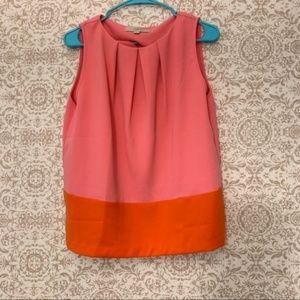Loft Pink Orange Color Block Sleeveless Blouse